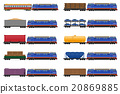 set icons railway train with locomotive and wagons 20869885
