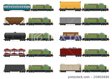 set icons railway train with locomotive and wagons 20869886