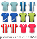 Collection of various soccer jerseys.  20871659