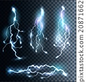 Set of transparent electric lightning bolts.  20871662