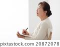 坐椅子和寫筆記的資深婦女個人歷史 20872078