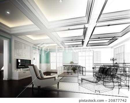 sketch design of living room ,3dwire frame render 20877742