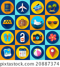 Travel and tourism icon set. Flat designed style 20887374