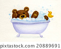 Bathing baby bear. 20889691