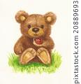 Bear holding ladybird. 20889693