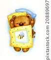 Sleeping  bear in bed. 20889697