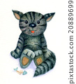 Cute kitten, watercolor. 20889699