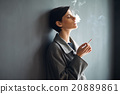 Portrait of fashionable woman smoking a cigarette on dark backgr 20889861