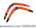 Two wooden painted colorful boomerang over white 20890389