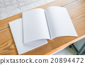 Blank catalog, magazines,book mock up on wood background 20894472