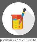 Experiment Beaker flat icon 20896161