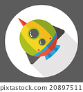 Spaceship rocket flat icon 20897511