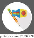 pencil stationery flat icon 20897778