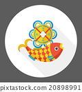 Chinese New Year fish lucky pendant flat icon 20898991