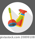 plunger and detergent flat icon 20899108