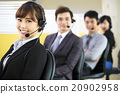 young business people working with headset in office 20902958