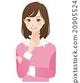 女性思維姿勢面部表情 20905524