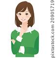 女性思維姿勢面部表情 20905719