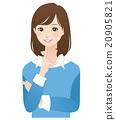 女性思維姿勢面部表情 20905821