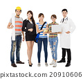 Group of diverse young people in different occupations standing 20910606