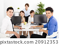 happy business people working in the office 20912353
