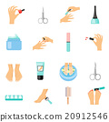 Manicure And Pedicure Flat Icons Set  20912546