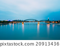 Night View Of Hohenzollern Arch Bridge Over River 20913436