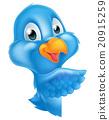 Cartoon Peeking Pointing Bluebird 20915259