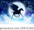 Pegasus flying moon silhouette 20915260