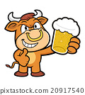 Bull Character is holding a beer toast. 20917540