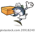 Tuna Fish Character is Holding a Courier box. 20918240