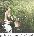 Senior Woman Bicycling Windy Park Concept 20920869