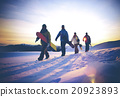 People Snow Boarding Winter Mountain Leisure Sport Concept 20923893