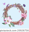 Watercolor spring wreath, bouquet with blossom 20926756