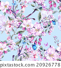 Watercolor spring seamless background with pink 20926778