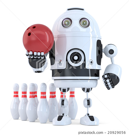 Robot playing bowling. Isolated 20929056
