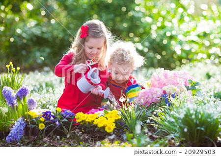 Stock Photo: Kids planting flowers in blooming garden