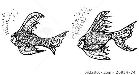 熱帶魚魚手繪插圖 20934774