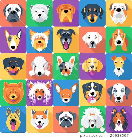 Stock Illustration: Seamless pattern with dogs flat design