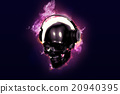 Burning skull with headphones. 20940395
