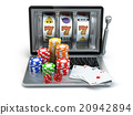 Casino online concept. Laptop slot machine  20942894