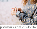 Closeup of woman hands wearing smart watch 20945167