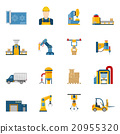 Production Line Icons Isolated 20955320