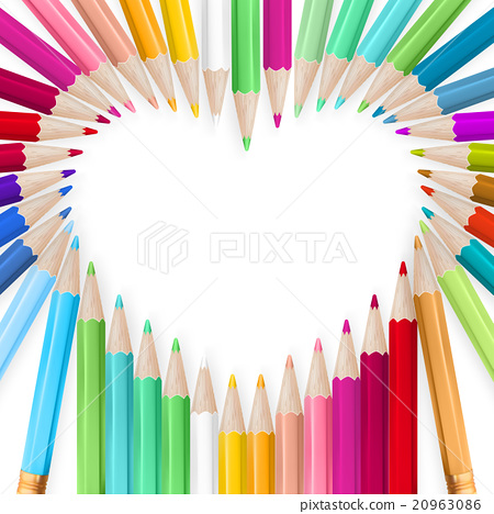 Colored pencils heart background. EPS 10 20963086