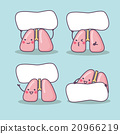 Happy lung cartoon with billboard 20966219