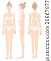 여성의 몸 정면 가로 뒷모습 속옷 20967977