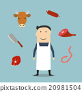 butcher, meat, man 20981504