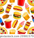 Fast food, drinks and dessert pattern 20981579