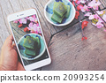 Taking photo of matcha mochi japanese dessert 20993254