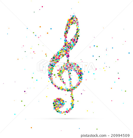 treble clef symbol consisting of colored particles 20994509